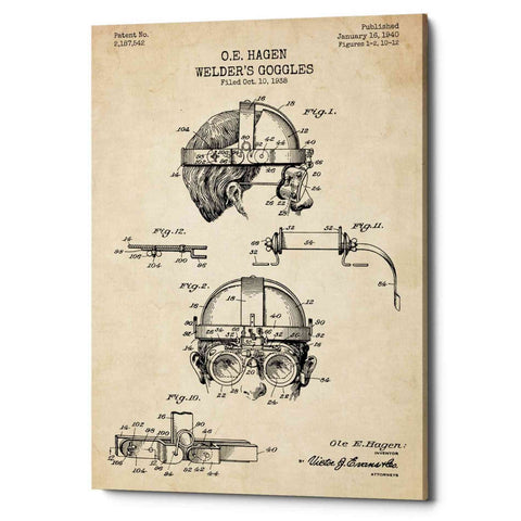 "Image of ""Welding Goggles Blueprint Patent Parchment"" Giclee Canvas Wall Art"
