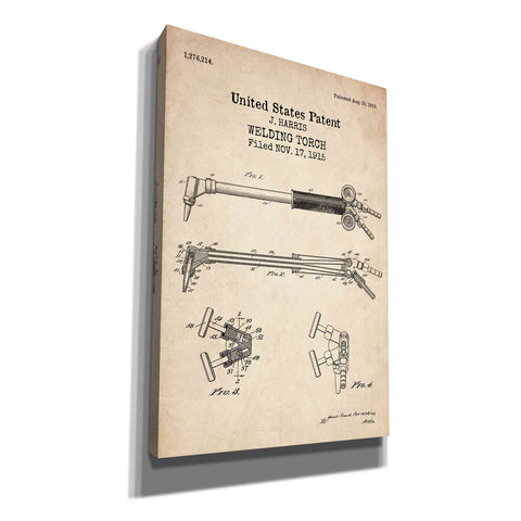"Image of ""Welding Torch Blueprint Patent Parchment"" Giclee Canvas Wall Art"