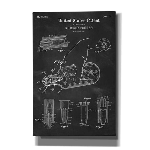 """Whiskey Pourer Blueprint Patent Chalkboard"" Giclee Canvas Wall Art"