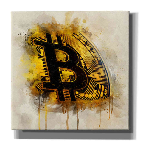 'Bitcoin Era in Gold' by Surma and Guillen, Canvas Wall Art,Size 1 Square
