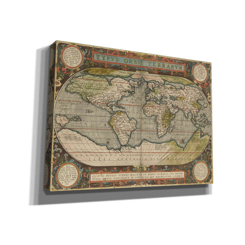 'Antique World Map 36x48' by Vision Studio Giclee Canvas Wall Art