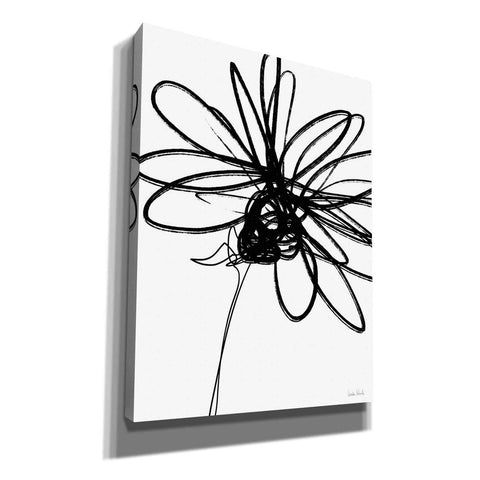 'Black Ink Flower III' by Linda Woods, Canvas Wall Art