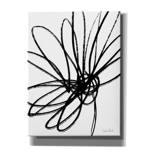 'Black Ink Flower Ii' by Linda Woods, Canvas Wall Art