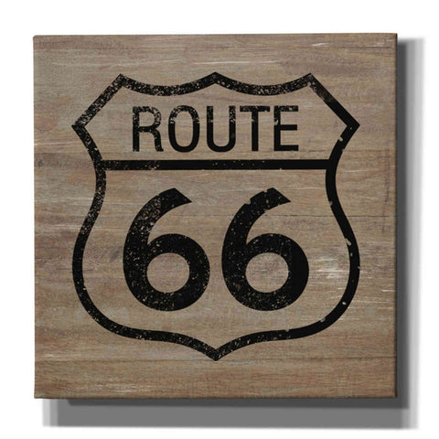 'Route 66 Black On Wood' by Linda Woods, Canvas Wall Art