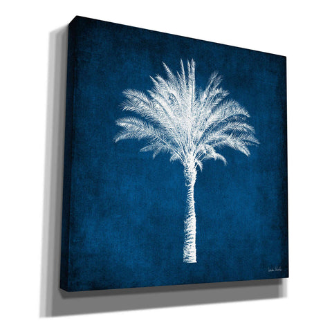 'Single Indigo And White Palm Tree' by Linda Woods, Canvas Wall Art