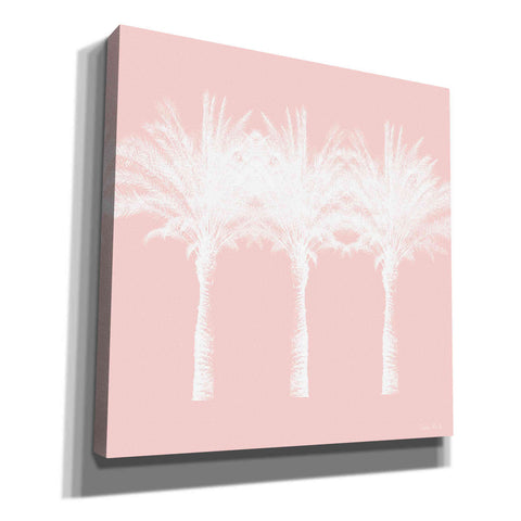 'White And Pink Palm Trees' by Linda Woods, Canvas Wall Art