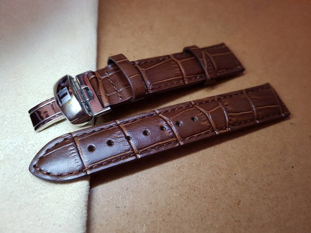 19mm tissot leather strap stainless steel clasp butterfly deployment watch strap buckle TISSOT T461 T014417A T171186A Prc200  Fast Shipping