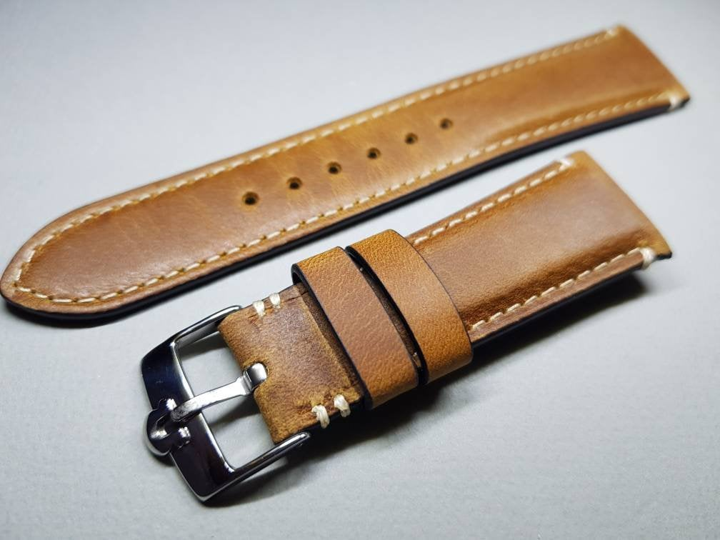 22mm vintage effect genuine leather strap for 22mm omega watches stainless steel  buckle omega watch( FAST SHIPPING ) on  on sale on sale