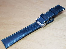 Load image into Gallery viewer, 22mm omega leather strap deployment clasp omega Seamaster speedmaster james bond 007 planet ocean professional watch bracelet on sale  on