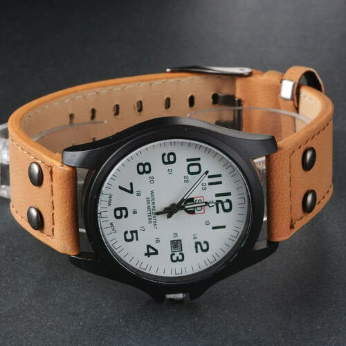 Men's Military Leather Date Quartz Analog Army Casual Dress Wrist Watches  FAST SHIPPING on sale