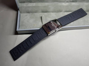 22mm Breitling black Rubber Strap Band Btacelet With deployment double push button Clasp on sale