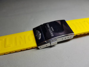 22mm Breitling  Rubber Strap Band Btacelet With Deployment double push buttons clasp stainless steel on sale