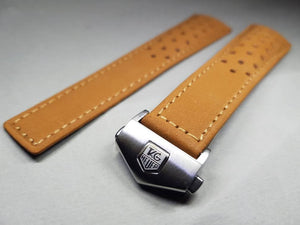 22mm tag heuer leather strap with deployment stainless steel clasp  Watch Band Strap For Tag Heuer 22mm Watch Replacement strap on  on sale