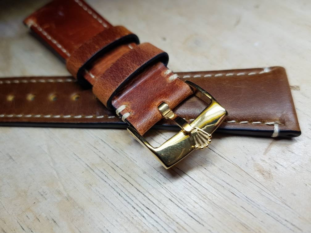 22mm vintage genuine leather strap rolex  Strap for Rolex Daytona GMT Submariner Yacht Master Band 22mm on sale
