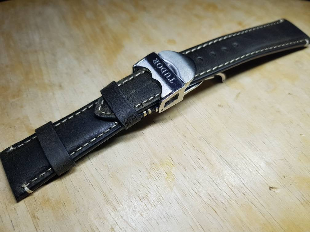 20mm Tudor stainless steel Deployment strap handmade premium high quality leather  strap watches band bracelet on  on sale