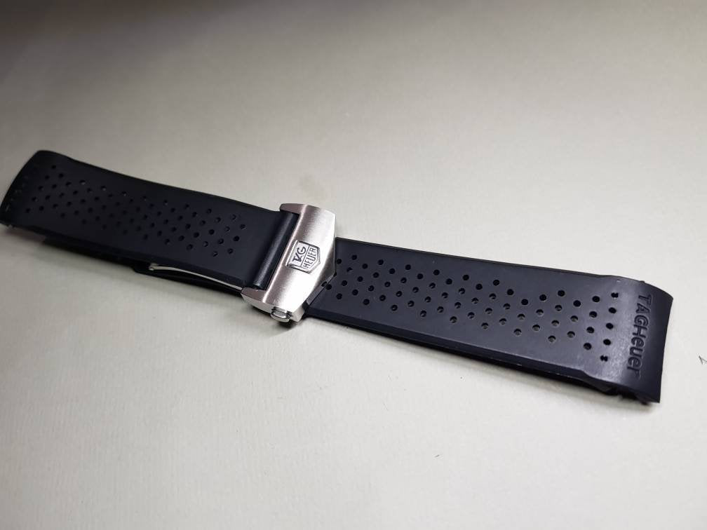 Tag heuer 22mm Rubber Black Watch Band Strap For Tag Heuer Carrera Watch Replace Parts on sale