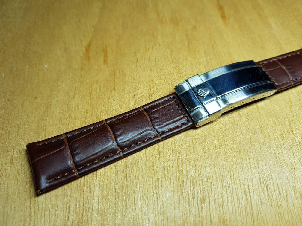 rolex watch 20mm genuine  brown leather strap bracelet mens stainless steel silver deployment clasp submarine oyester President jubilee