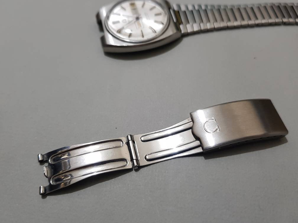 vintage omega bracelet complete clasp mens watch strap clasp buckle stainless steel on sale