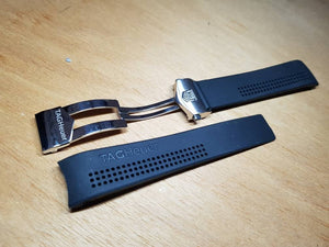 20mm Rubber Black Watch Band Strap For Tag Heuer Carrera Watch Replacement strap on  on sale