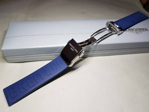 22mm Breitling blue Rubber Strap Band Btacelet With deployment double push button Clasp on sale