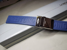 Load image into Gallery viewer, 22mm Breitling blue Rubber Strap Band Btacelet With deployment double push button Clasp on sale