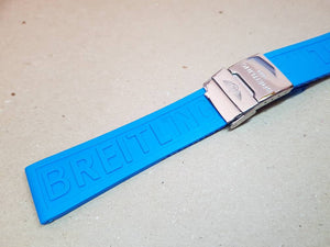 24mm Breitling Blue Rubber Strap Band Btacelet With Clasp on sale
