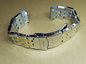 24mm 22mm and 20mm Sizes Breitling twotone Chronomat Nevitimer super avenger watches Solid stainless steel bracelet strap  ( FAST SHIPPING )