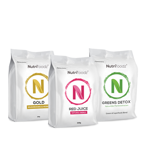 NUTRIFOODZ SUPER HEALTH & ENERGIE PAKKET (1 Nutrifoodz Gold + 1 Greens Detox + 1 Red Juice)