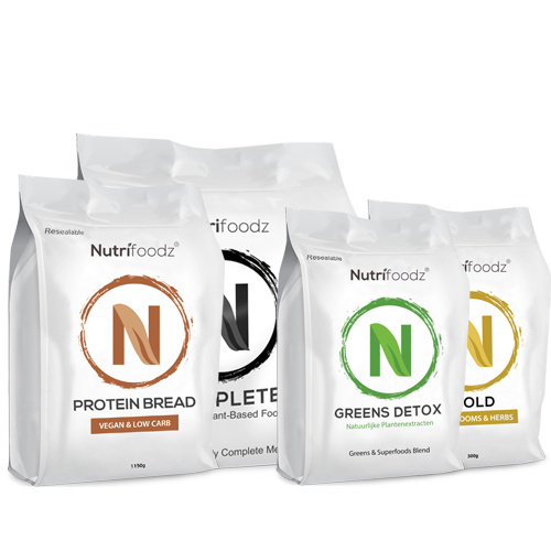 NUTRIFOODZ SUPERHEALTH PROTEIN & SLEEP PAKKET (1 Protein-Bread + 1 Complete Vanille + 1 Nutrifoodz Gold + 1 Greens Detox)