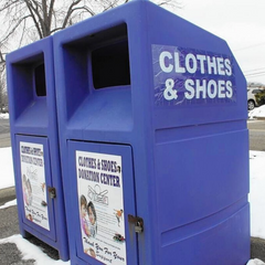 Clothes and shoes blue donation bin drop off