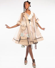 Hana Holquist sheer coat with bag dress