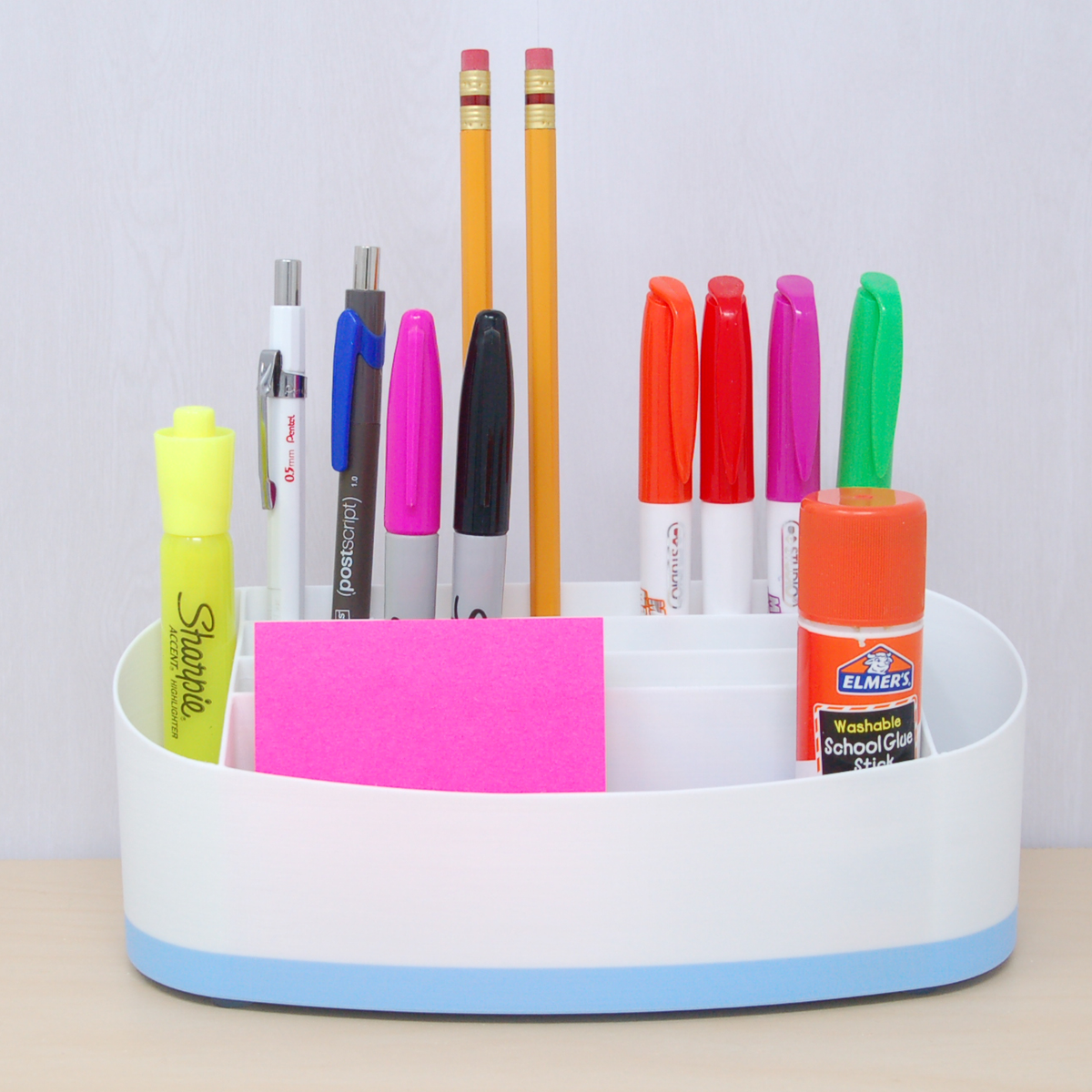 Desk organizer white with blue accent colour
