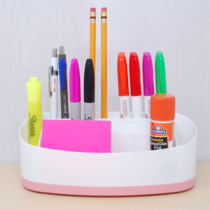 Desk organizer rose accent colour