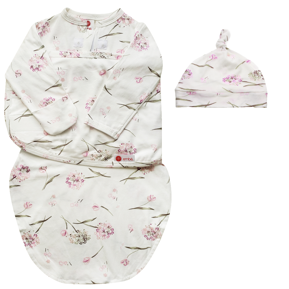 Hat and Starter Long Sleeves Swaddle Bundle (Clustered Flowers)