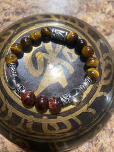 Tiger Eye & Red Tiger Eye with Clear Quartz Bracelet