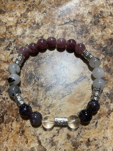 Lipidolite,Amethyst, & Tourmalated Quartz with Clear Quartz Bracelet