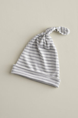 KNOTTED HAT - Natural & Grey Stripe