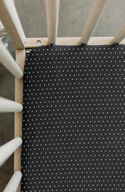 CRIB SHEET - Charcoal Swiss Dot