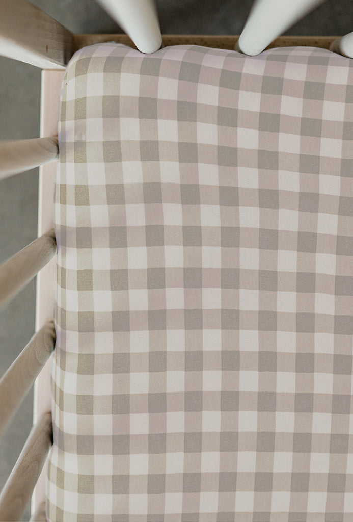 CRIB SHEET - Creamy Gingham
