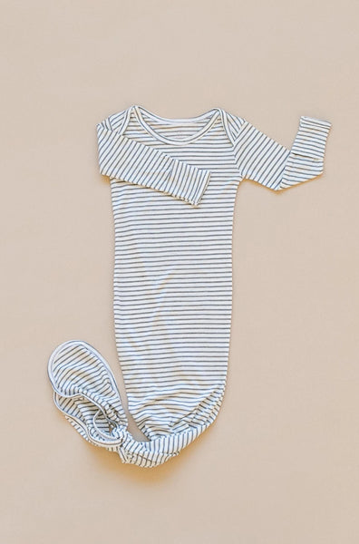SLEEP GOWN - Black Pinstripe
