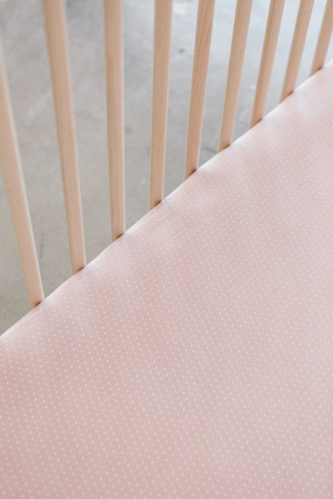 CRIB SHEET - Blush Swiss Dot