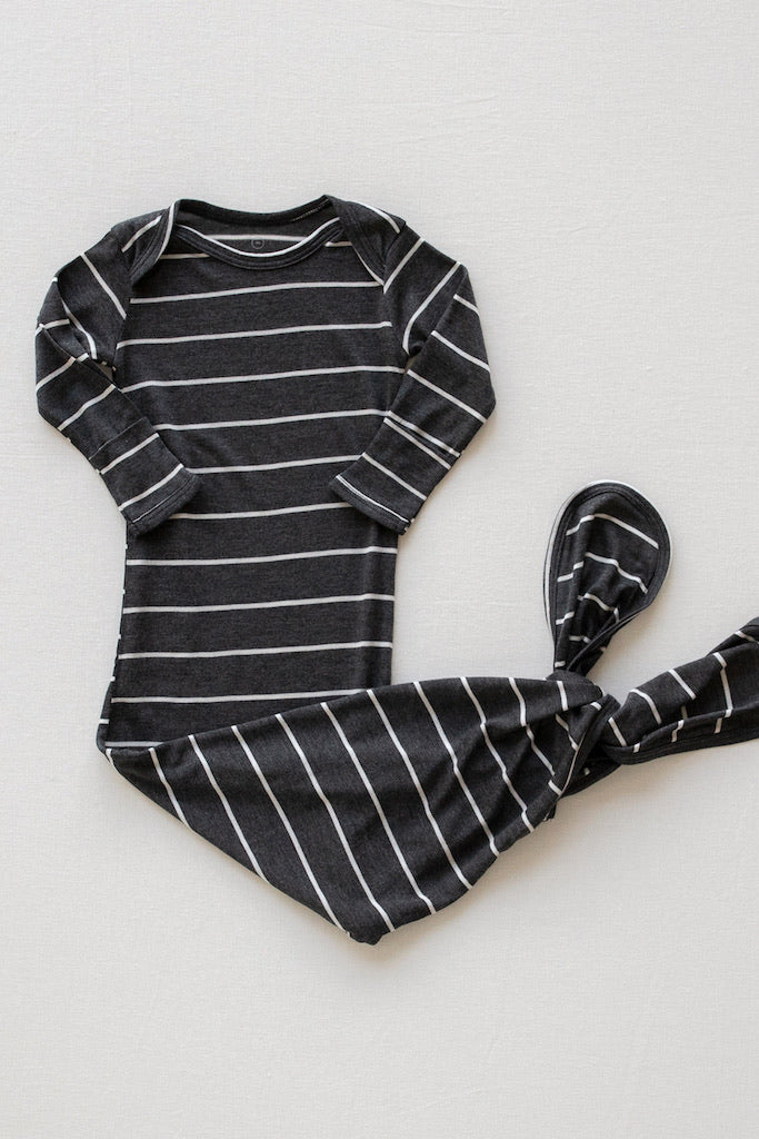 SLEEP GOWN - Charcoal Stripe