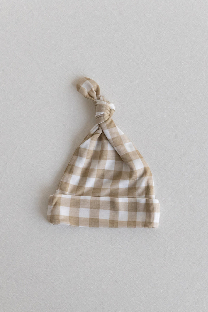 KNOTTED HAT - Creamy Gingham