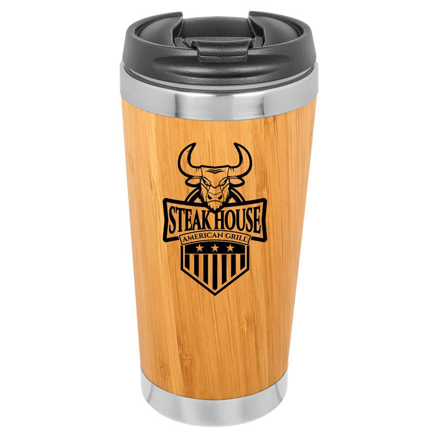 Load image into Gallery viewer, 15oz Bamboo tumbler with steak house logo
