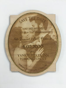 Wooden Save the Date - Photo Engraved