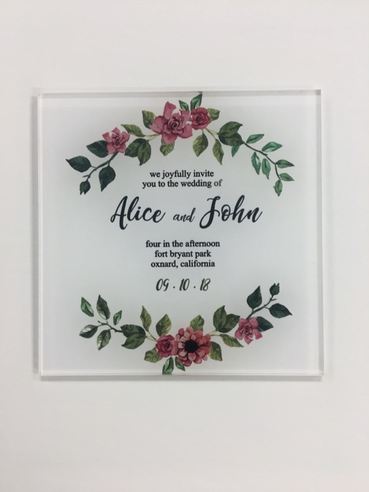 Acrylic and Vinyl Invitations, Square