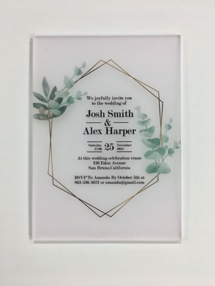 Acrylic and Vinyl Invitations, Rectangular