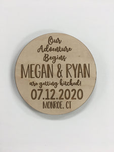 Wooden Save the Date - Coaster