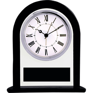 Black and Clear Glass Arch Clock