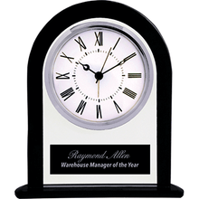 Load image into Gallery viewer, Black and Clear Glass Arch Clock